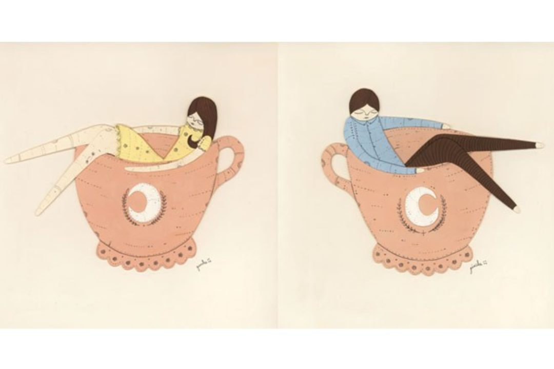 illustrations of woman and man in tea cups