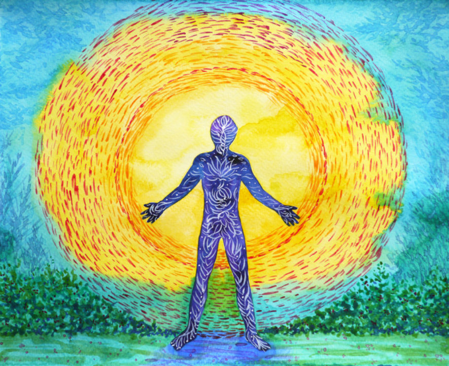 Human and higher power, abstract watercolor painting, 7 chakra yoga reiki