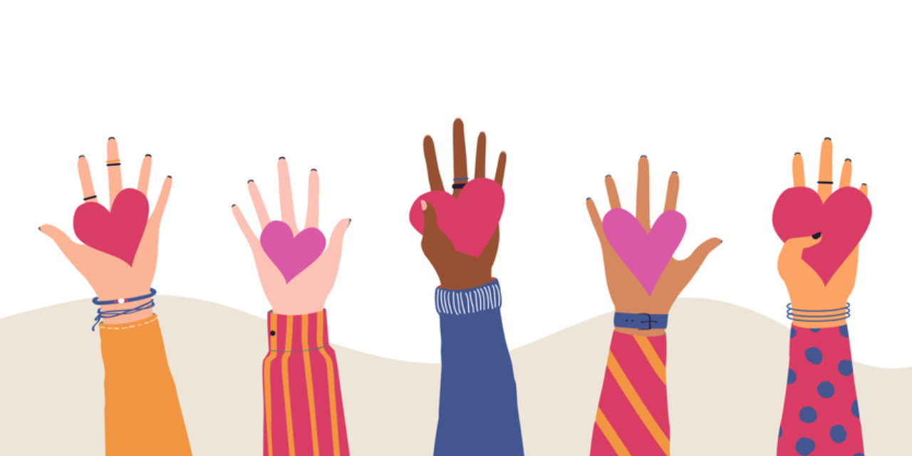 An illustration of hands holding up hearts.