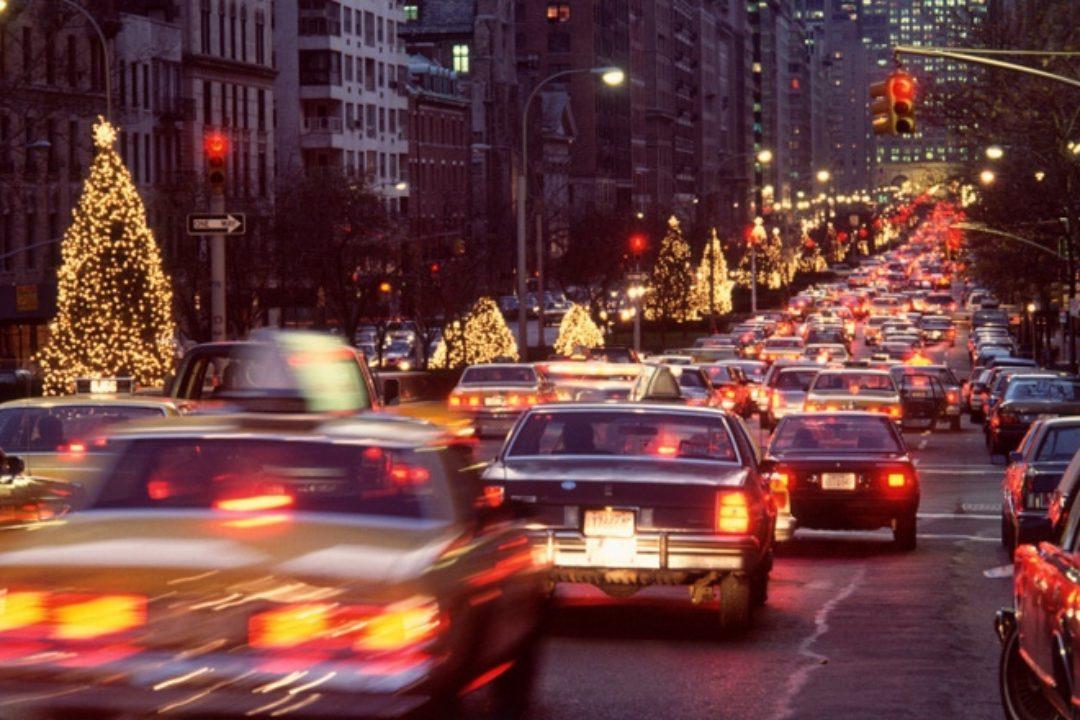 City traffic in holiday season