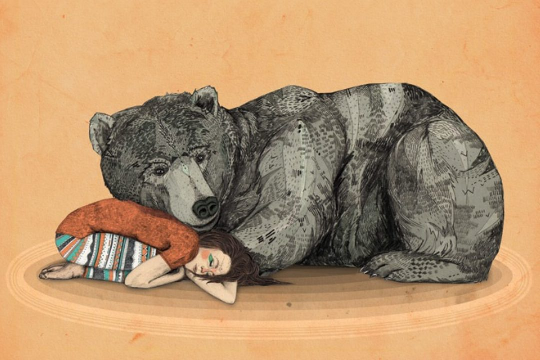Illustration of bear sleeping with girl