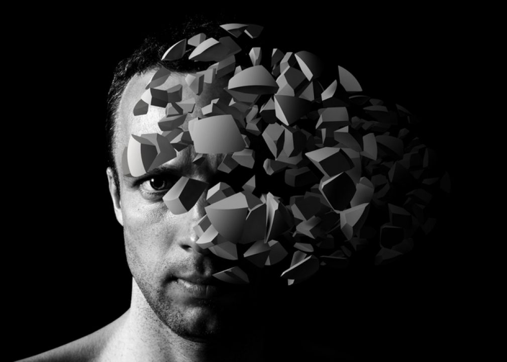 Depiction of man with cognitive distortion.