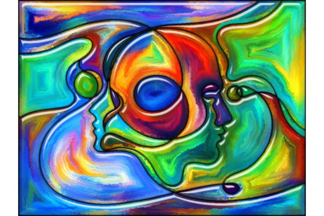 Colorful abstract painting of faces