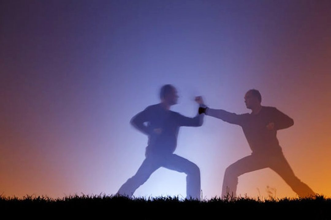 Two shadow figures practicing martial arts