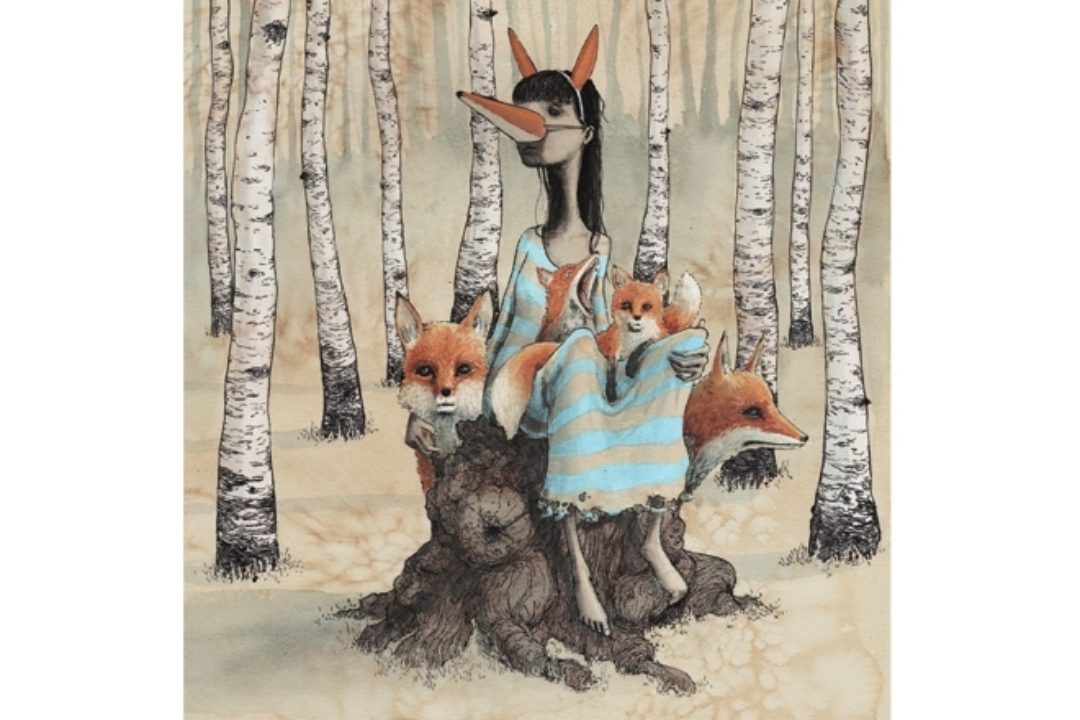 illustration by Graham Franciose of girl and foxes in wood