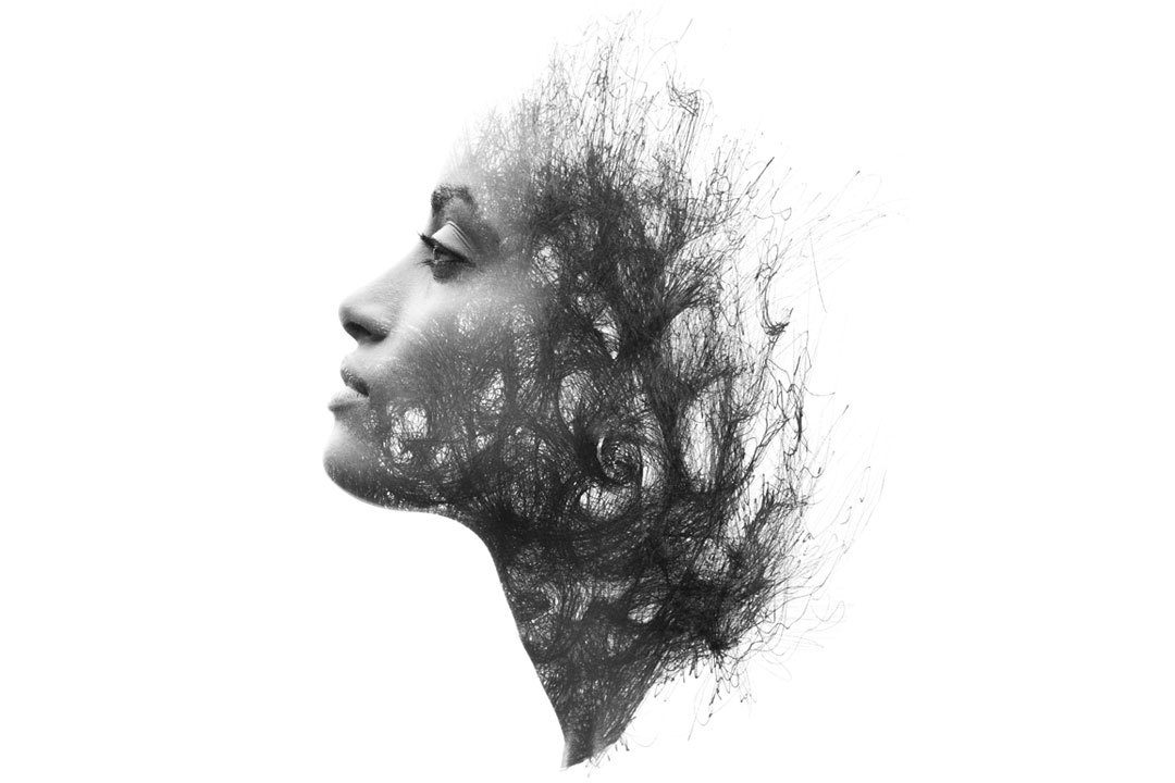 Abstract design of woman and tree