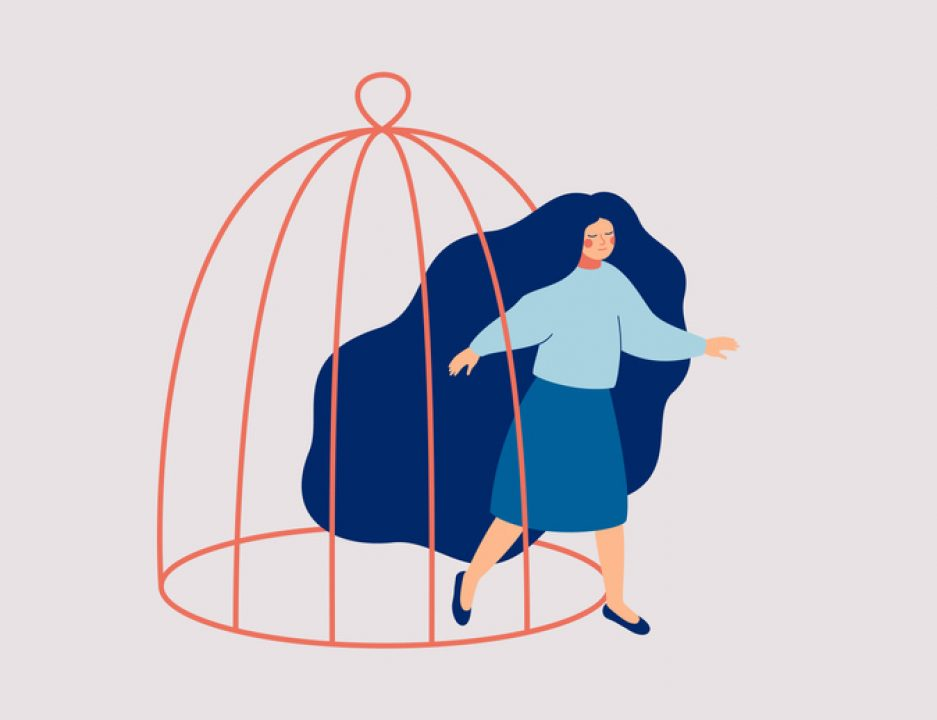 illustration of Woman freeing herself from the cage of living with chronic illness