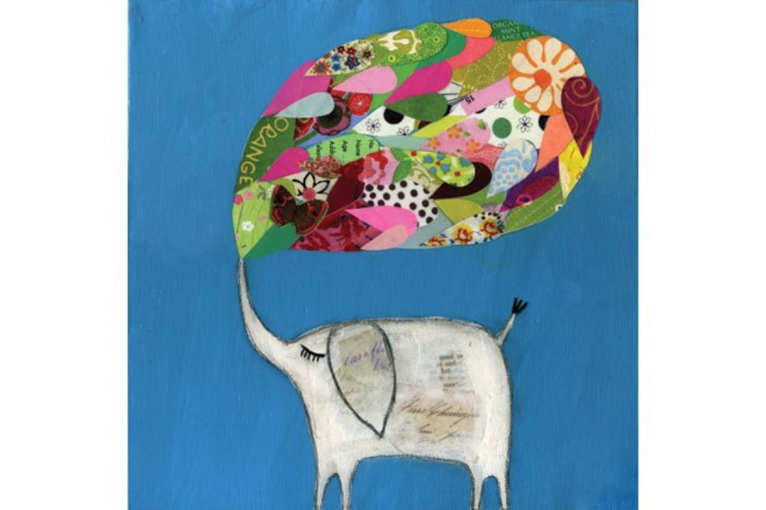 Illustration of elephant with collage word bubble