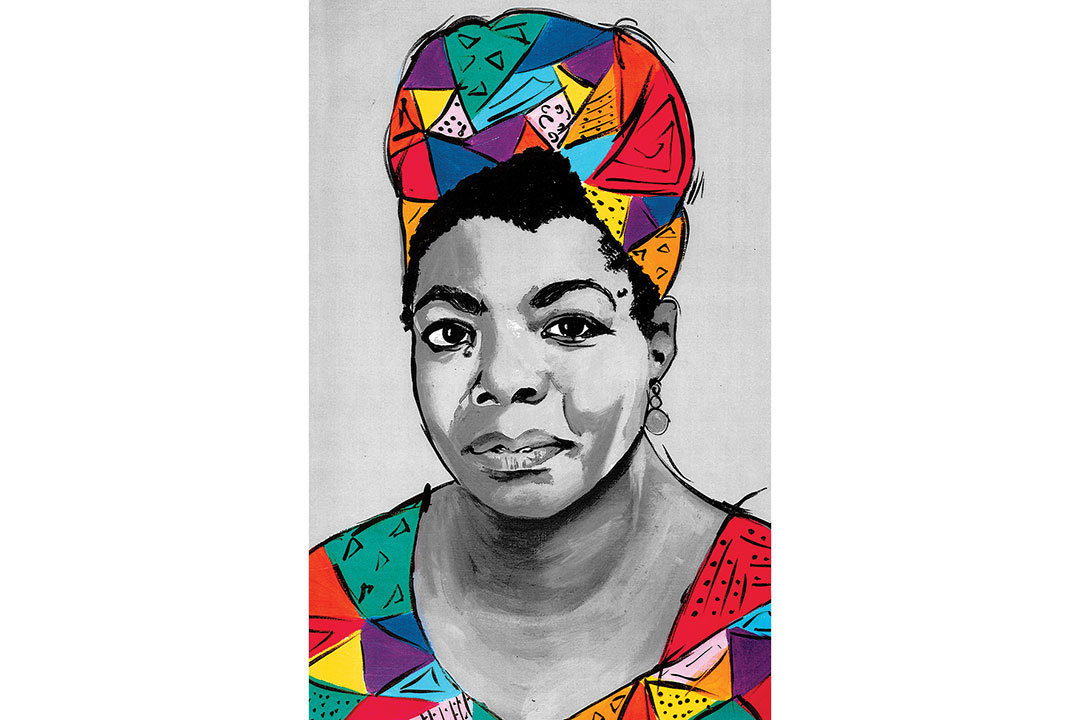 Colorful painting of Maya Angelou