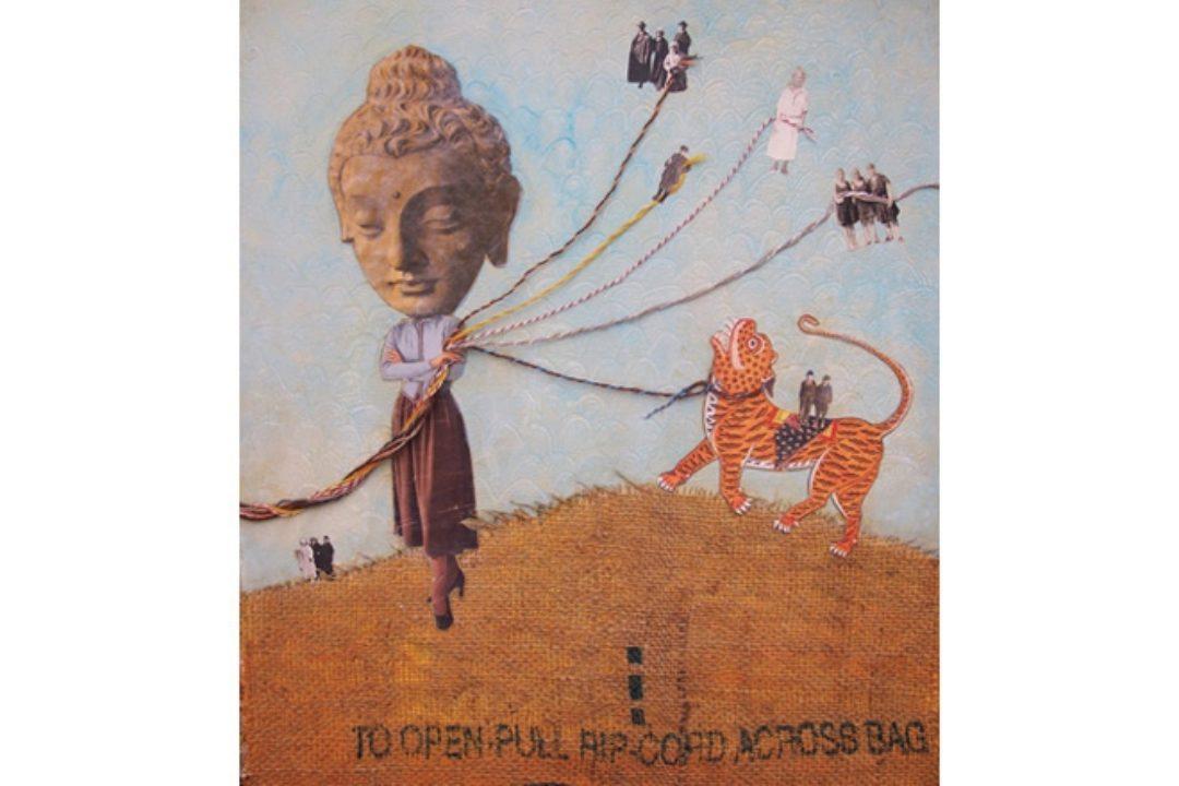 Mixed media illustration including buddha and tiger