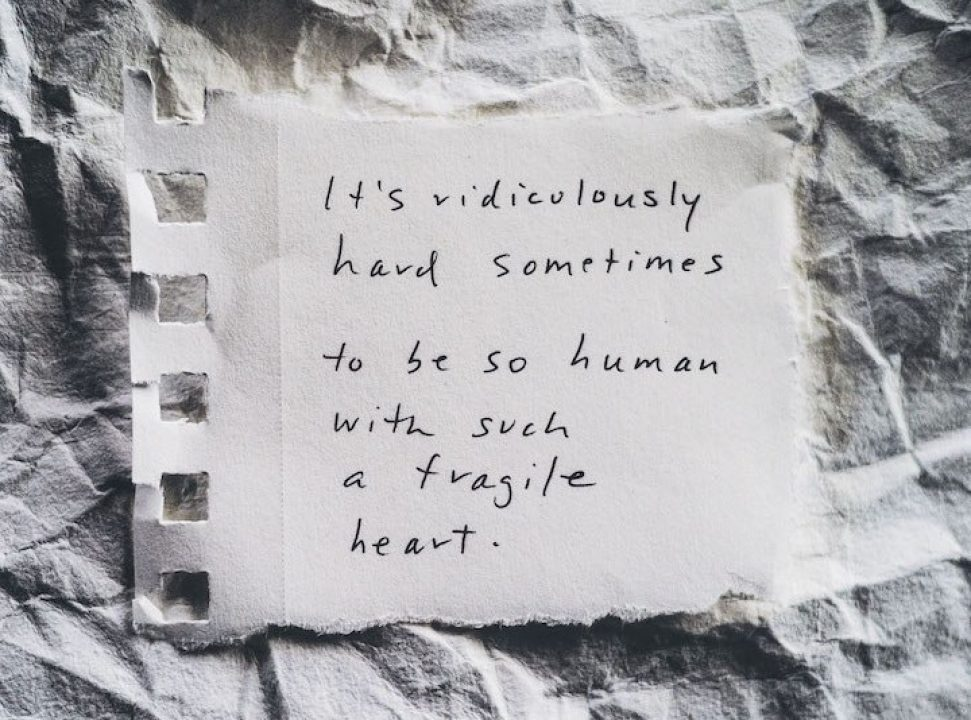 """It's ridiculously hard sometimes to be so human with such a fragile heart"" Notes from Your Therapist by Allyson Dinneen"
