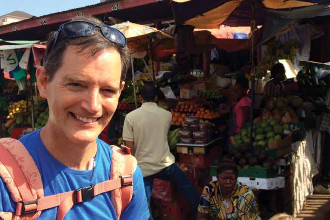 Paul Sutherland at a market in Uganda