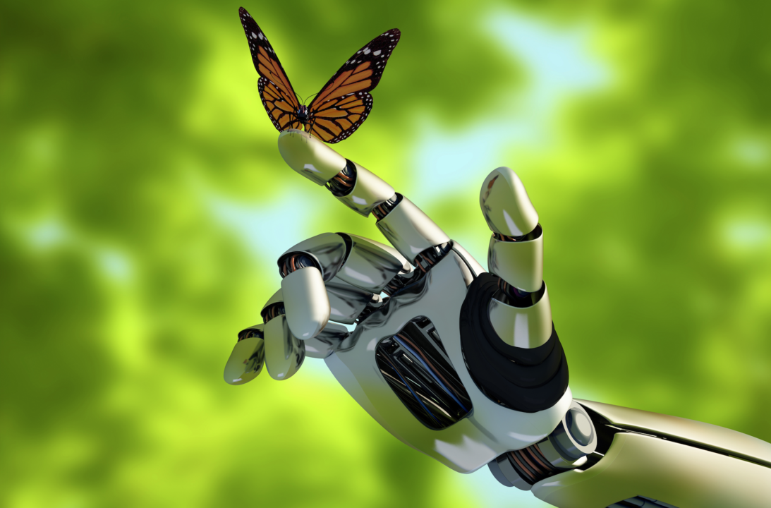 Robot with butterfly