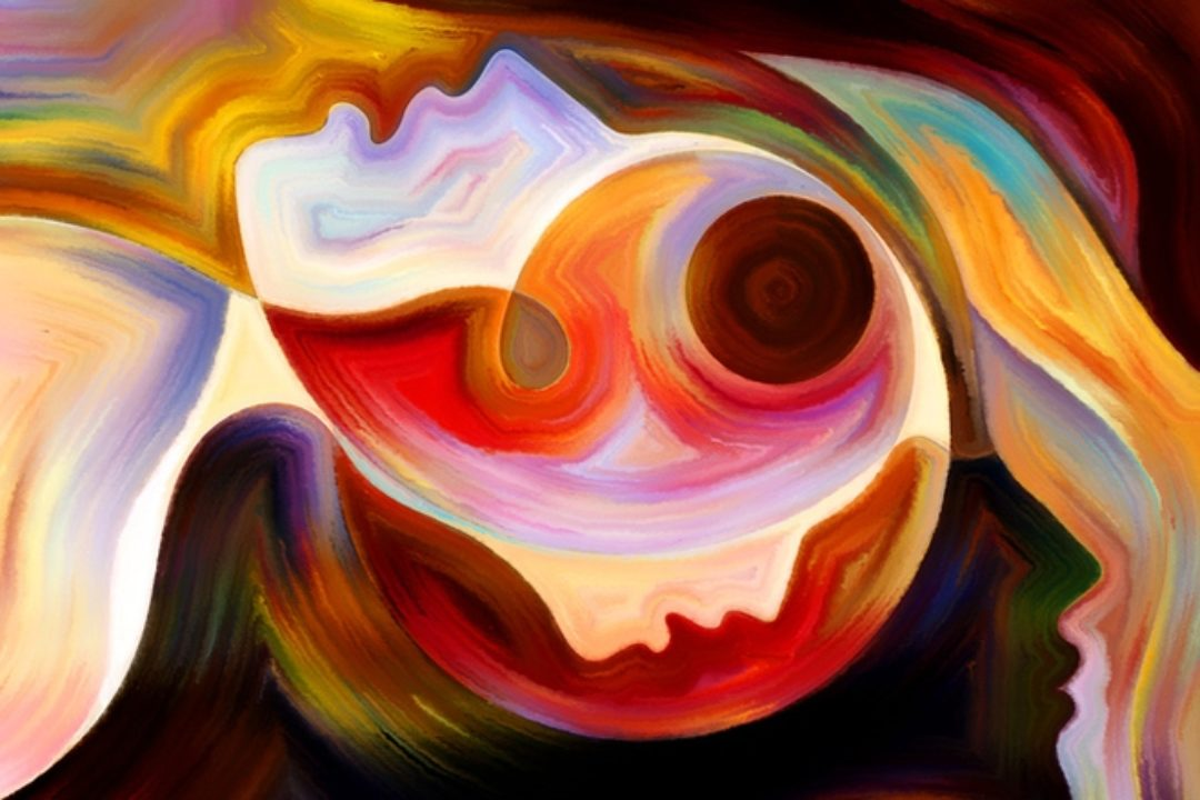 Abstract painting of mutiple faces silhouetted