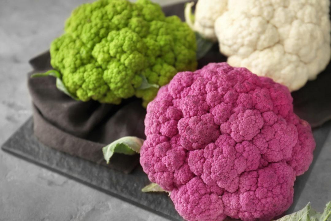 Three colors of cauliflower