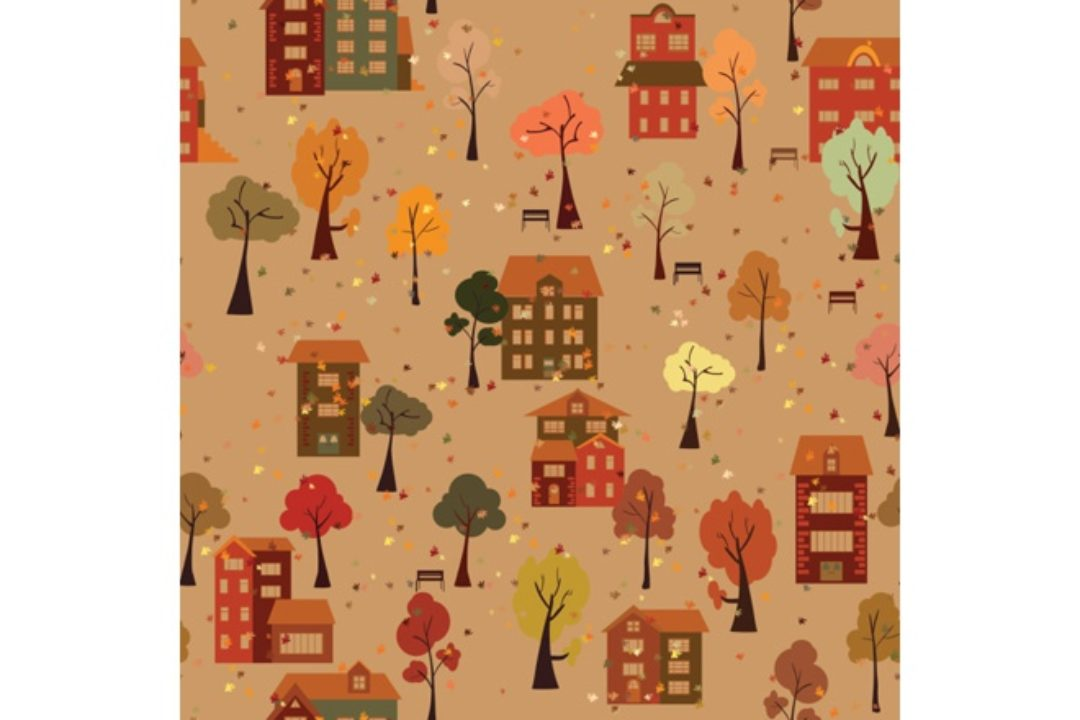 Illustration of trees and houses