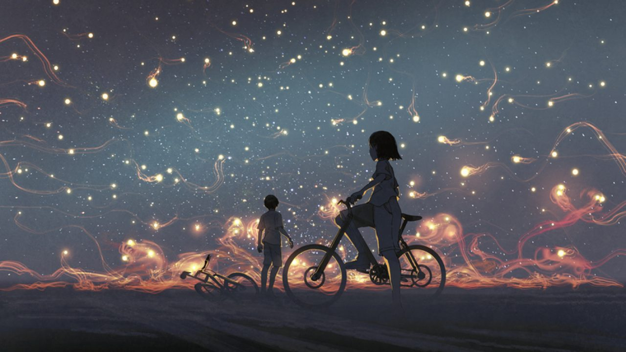 Friends traveling together through a dark night with glowing objects.