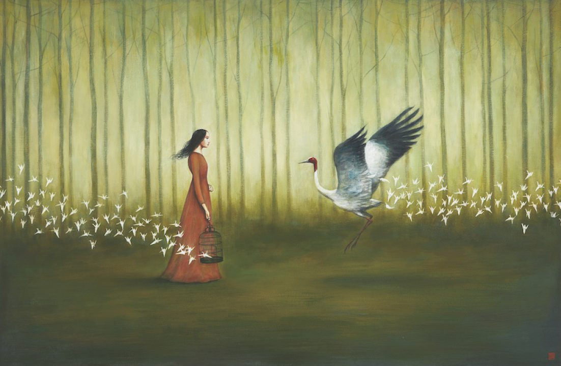 Two Fold Liberation by Duy Huynh, painting of a woman and a bird standing in a forest