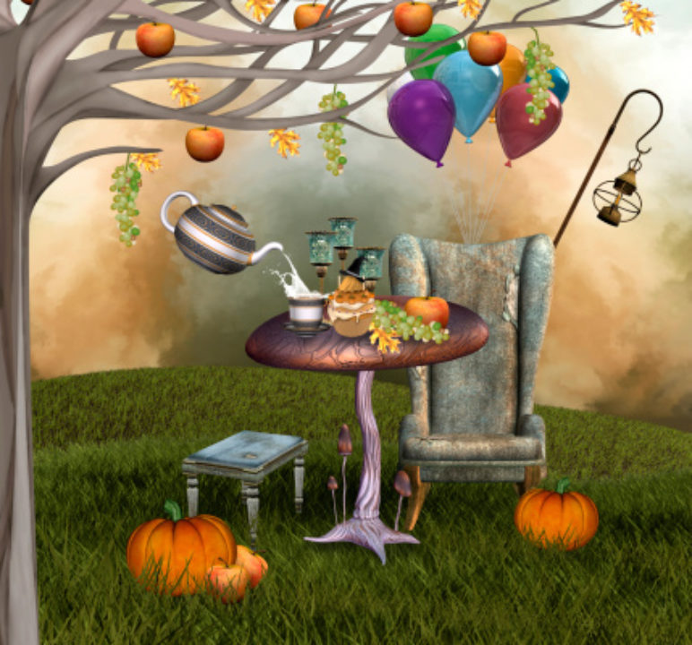 Surreal mixed-media autumnal banquet with pumpkins and fruit