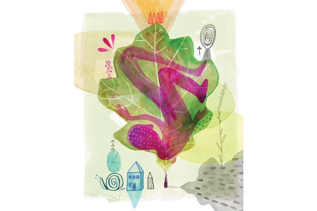 illustration of human figure inside leaf