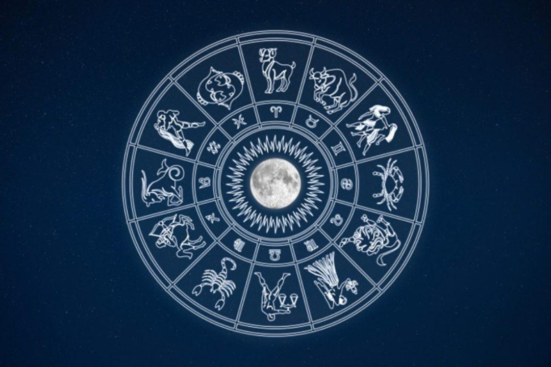 Zodiac sign illustration circling moon