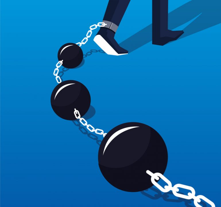 let go of a negative experience: ball and chain
