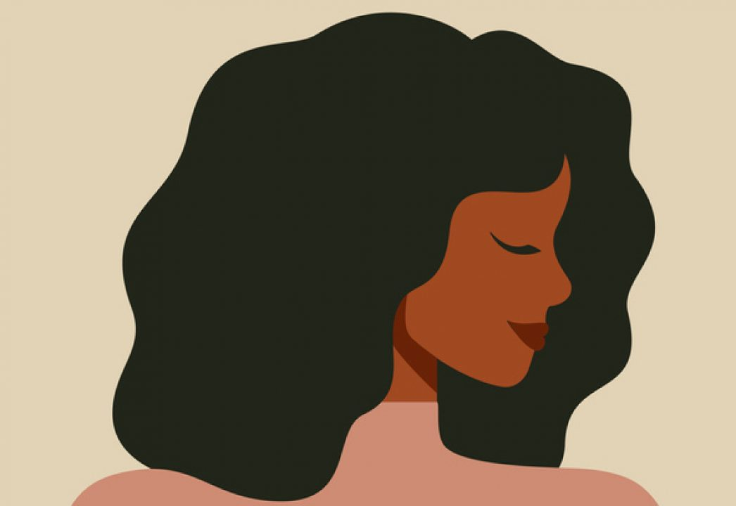 Vector of woman with eyes closed in contemplation about beauty