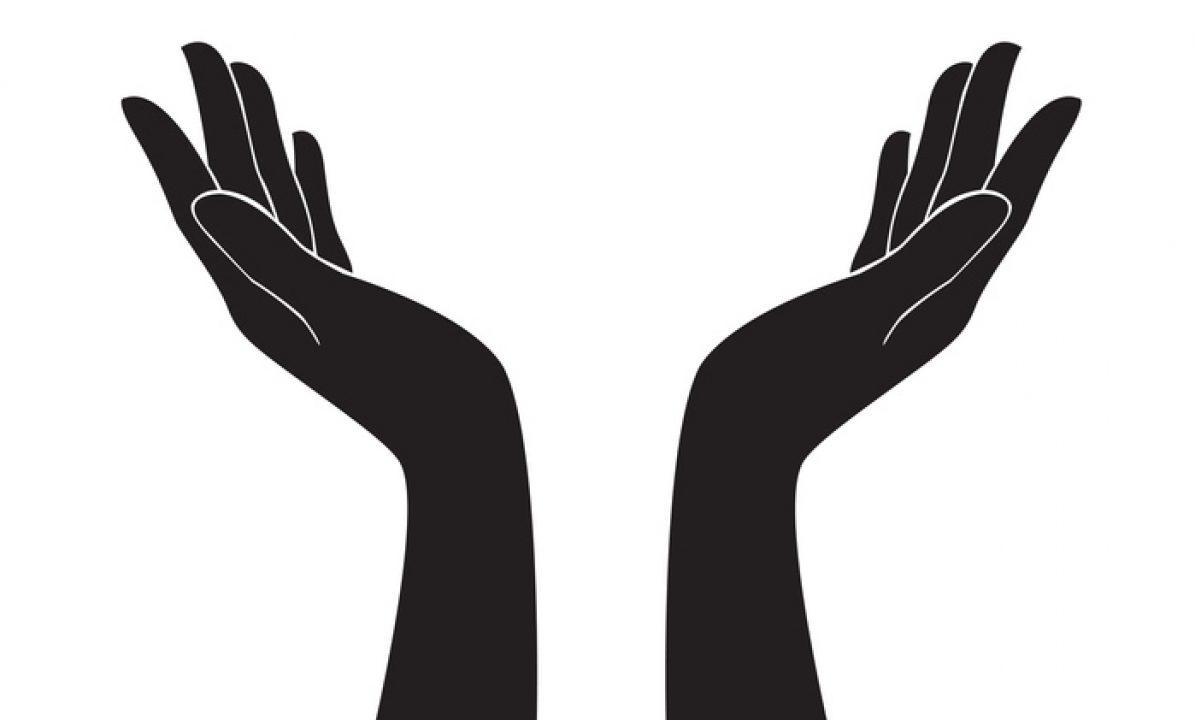 vector of hands open in body prayer