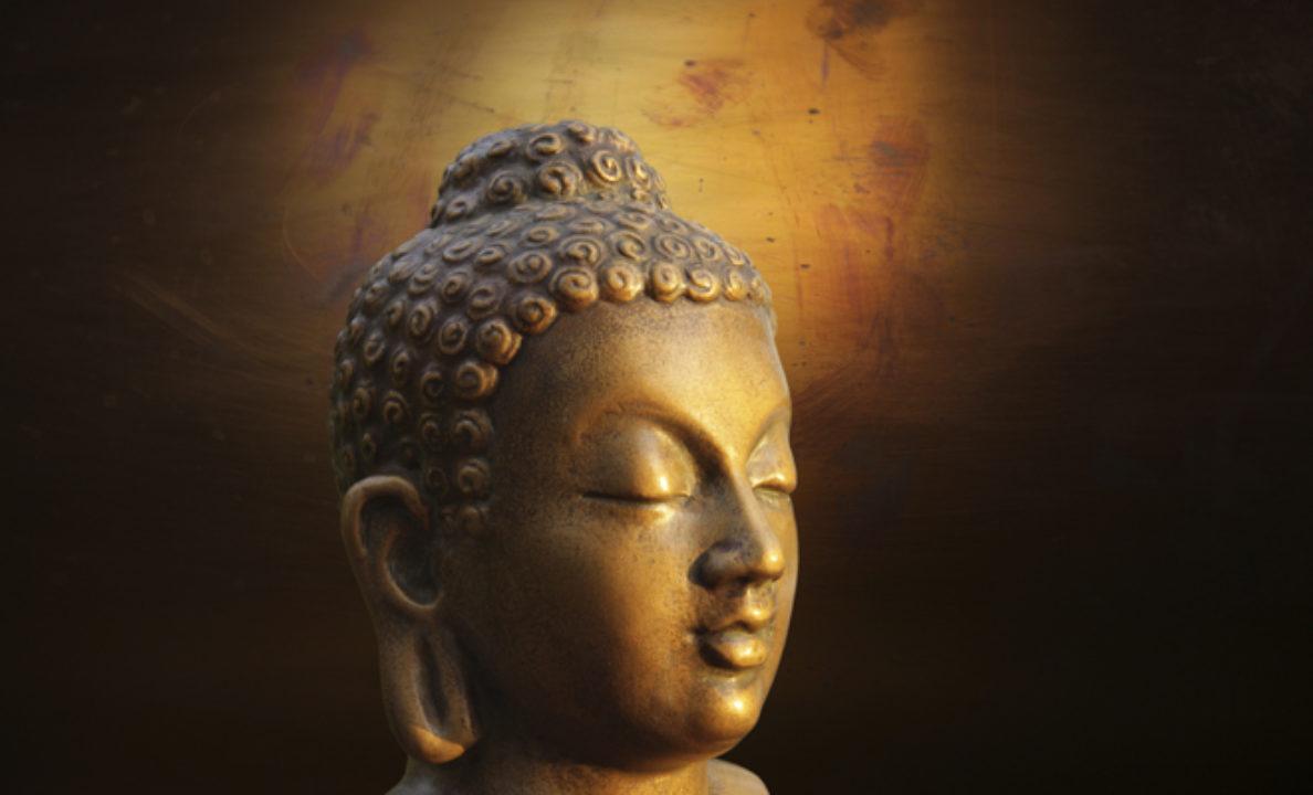 A closeup of a statue of Buddha