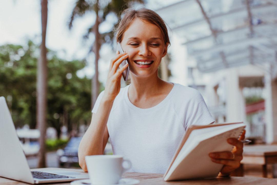 woman calmly working