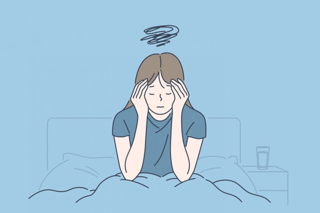 Illustration of woman in bed dealing with chronic illness