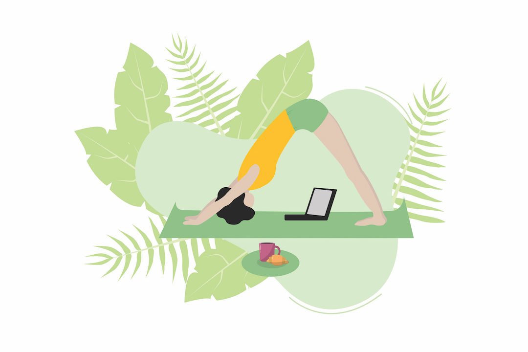 Vector of woman practicing yoga in front of laptop. Stay home, remote work, quarantine