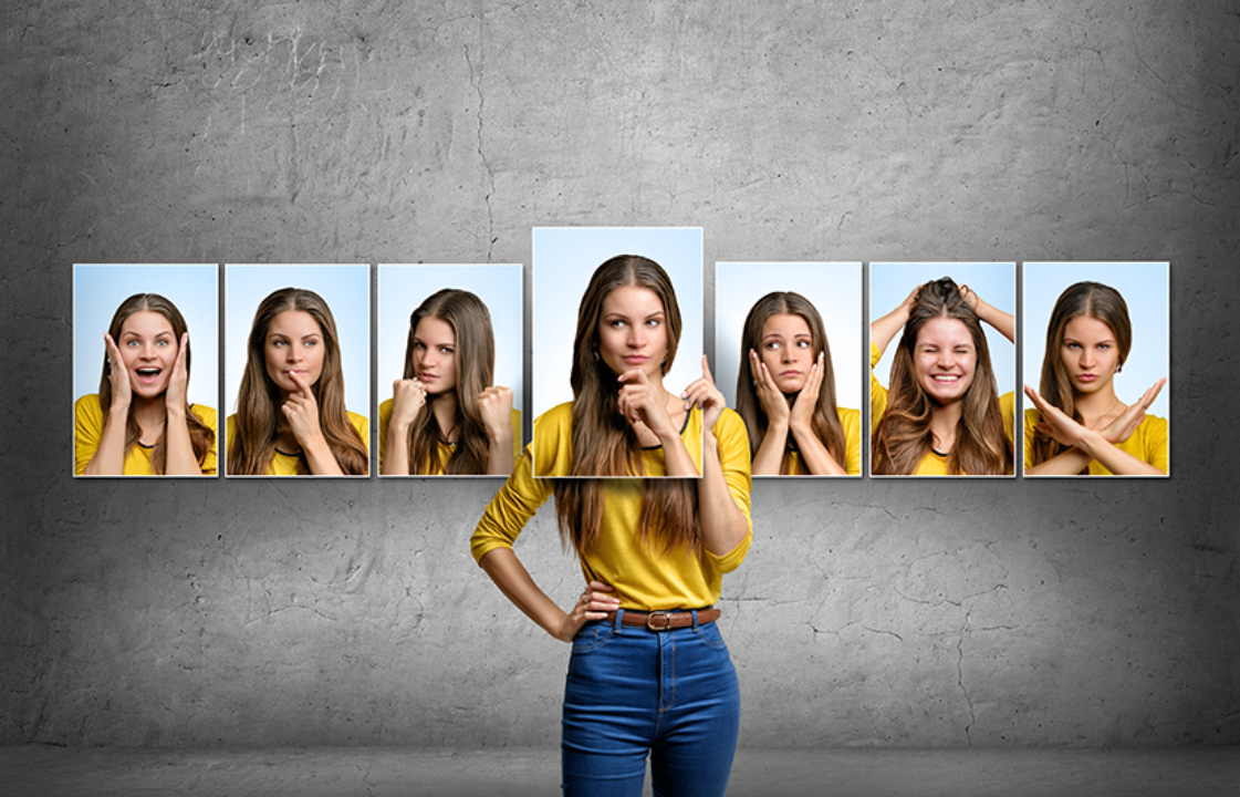 A woman has many emotions
