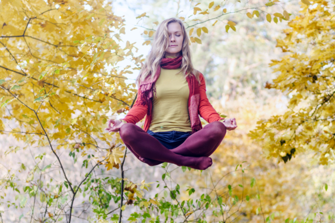Woman levitating in the fall