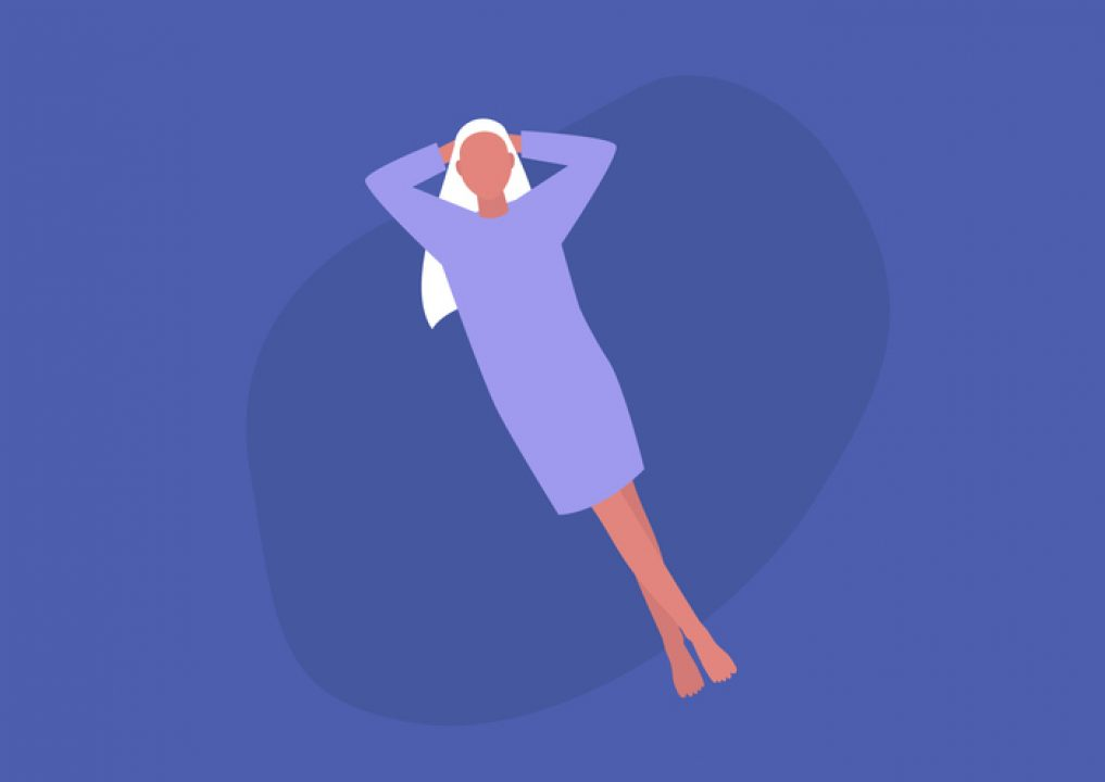 vector of female laying back in sacred rest