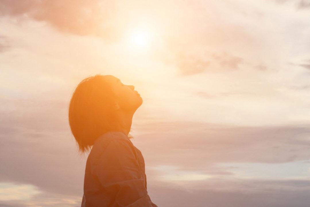 woman basking in sun