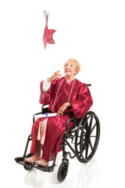 Disabled Grandmother Graduate Tosses Cap.