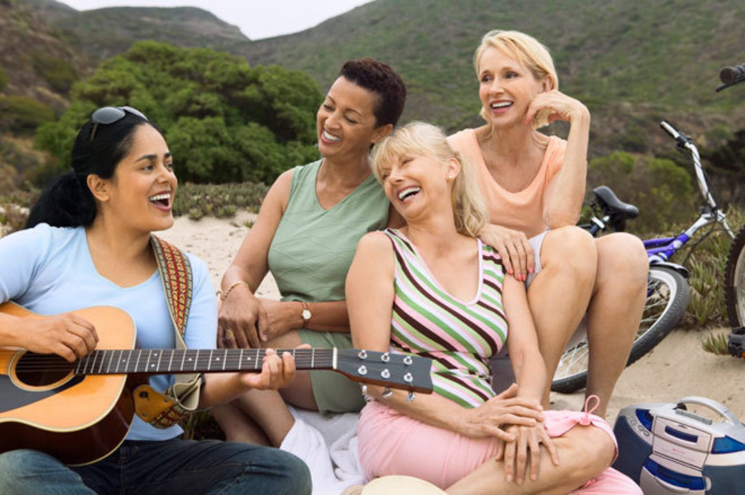 women singing together