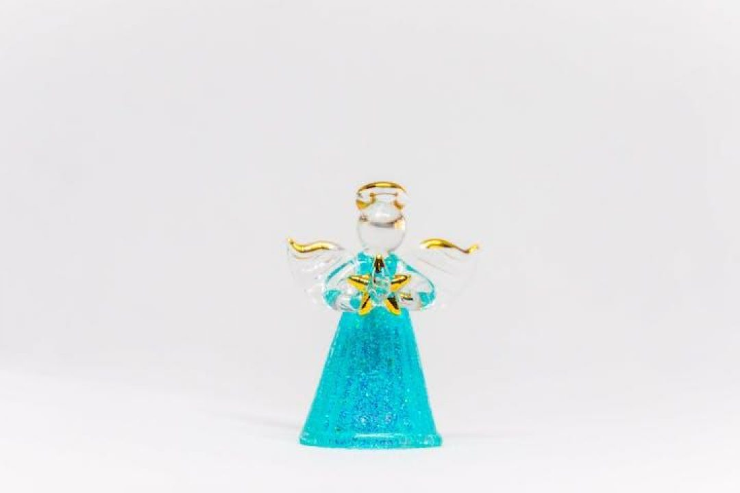 single glass angel holiday ornament