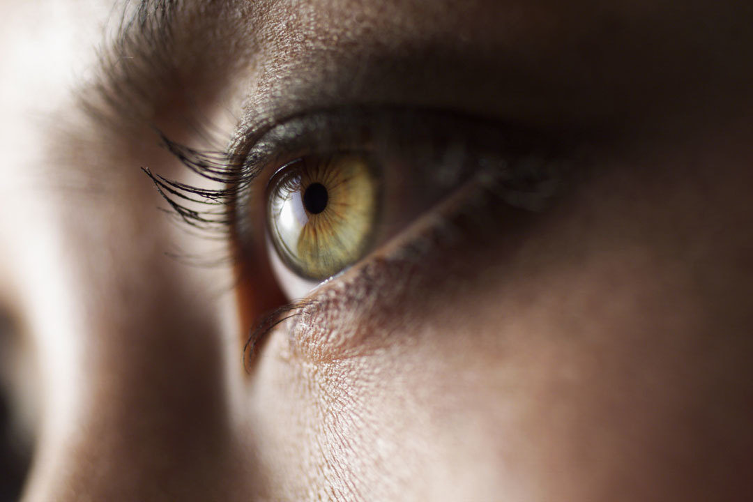 A woman's green eyes