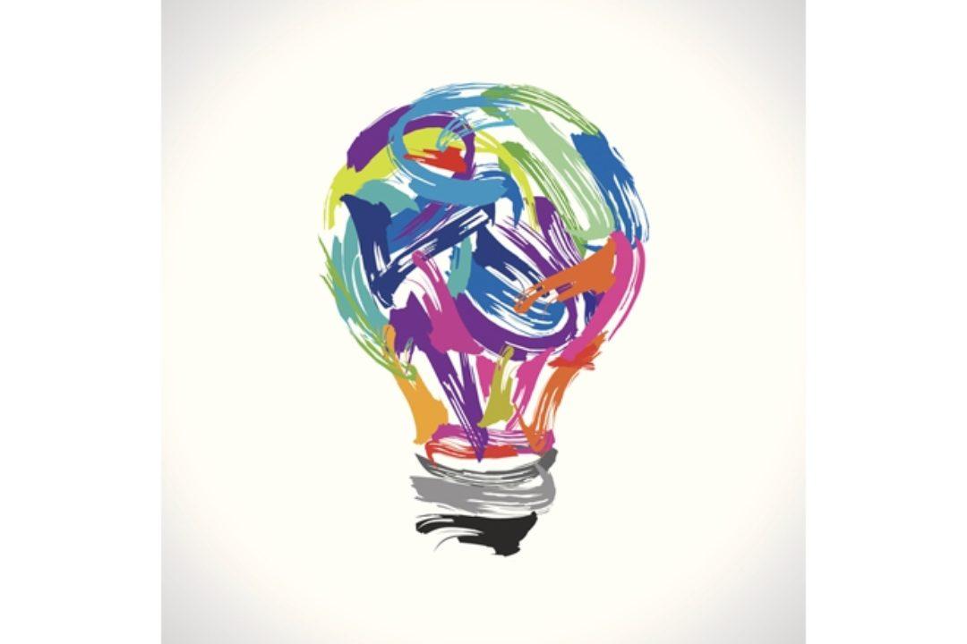 illustration of painted light bulb