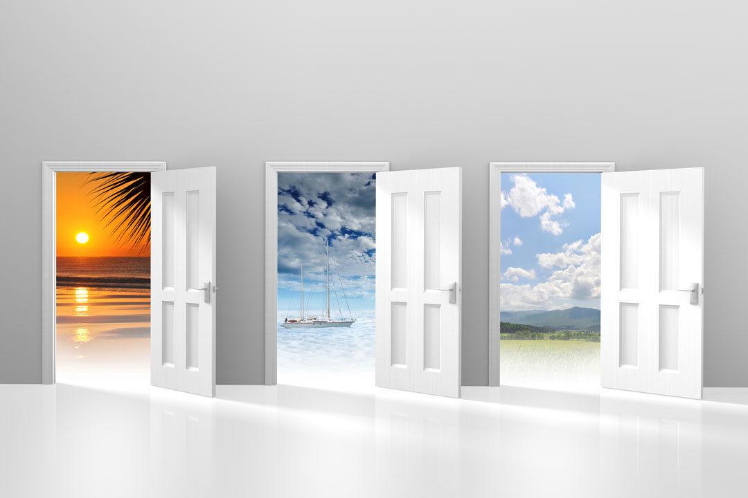 Three abstract doors