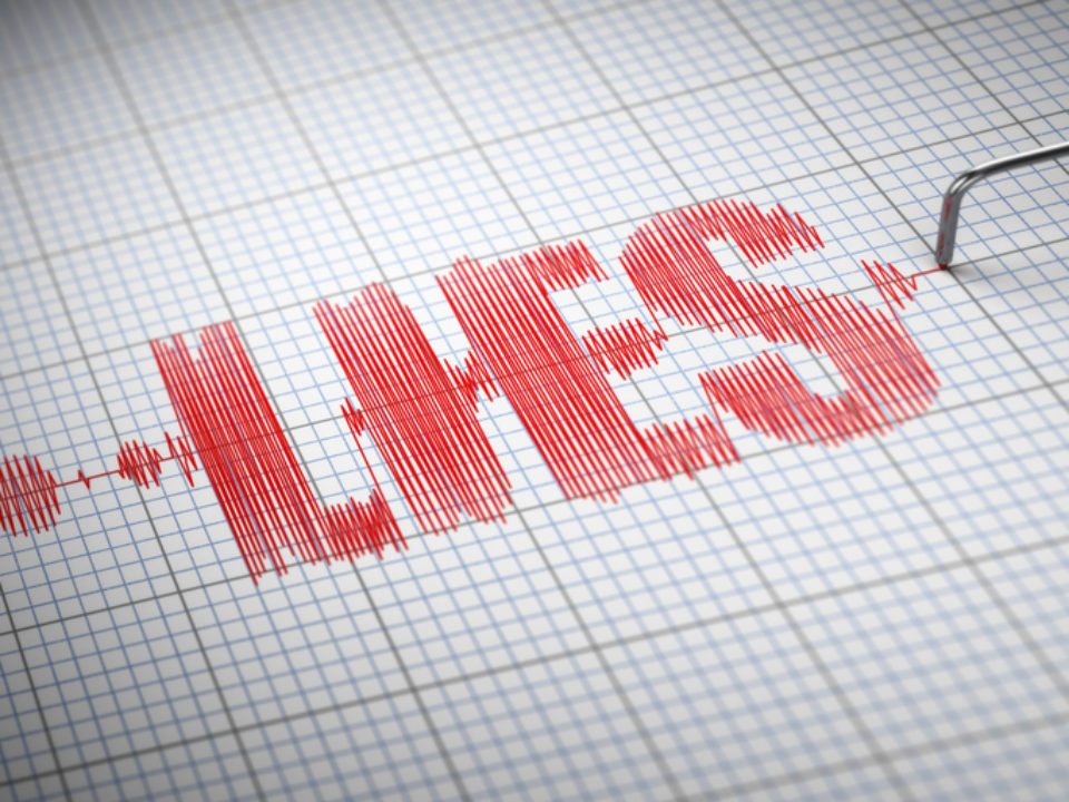 Concept of lies, lying partner. Lie detector with text.