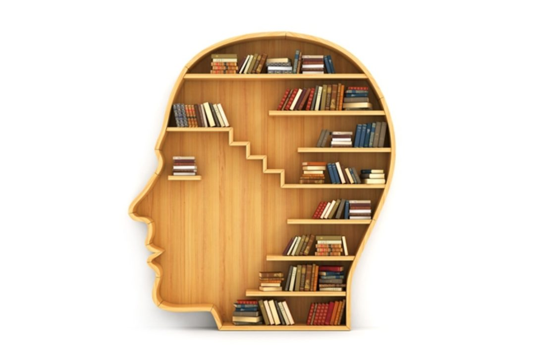 books on wooden head-shaped bookshelf