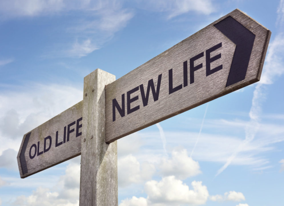 Old Life / New Life sign: New life concept for fresh start, new year resolution, dieting and healthy lifestyle.
