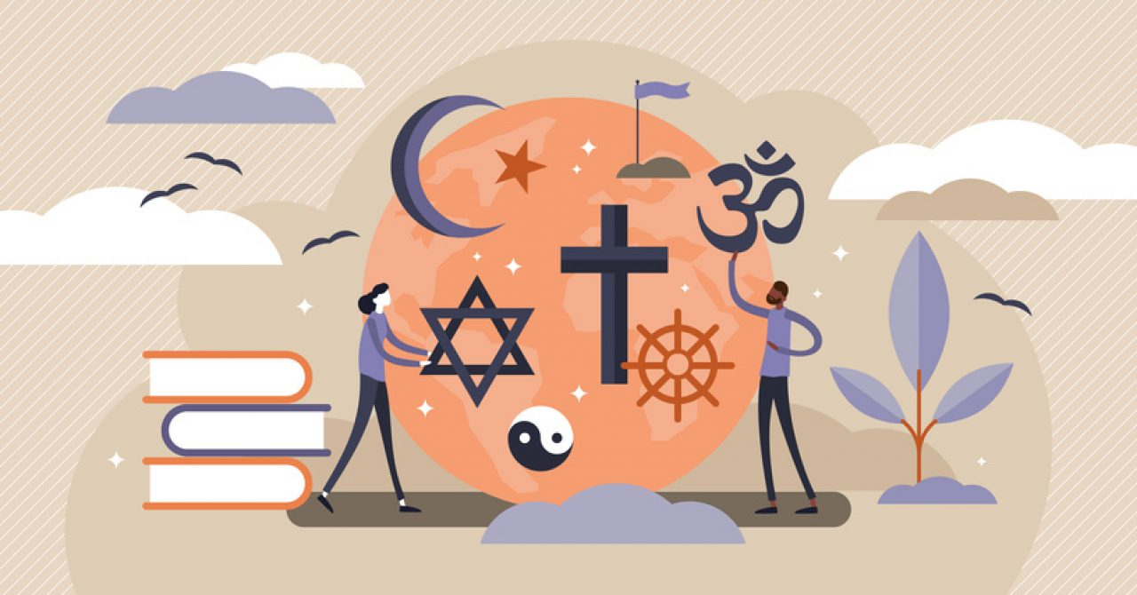 illustration the mingling of science and religion