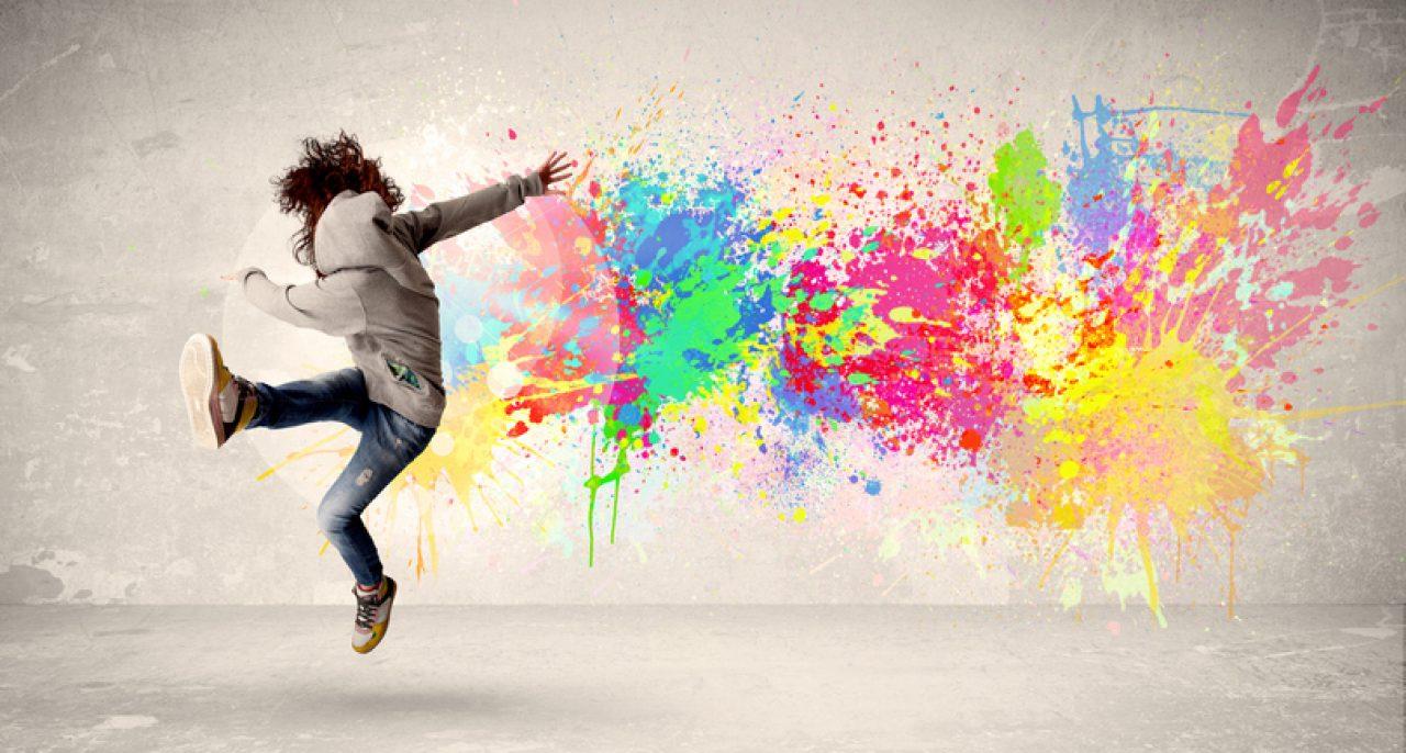 child jumping paint splatter for soul purpose
