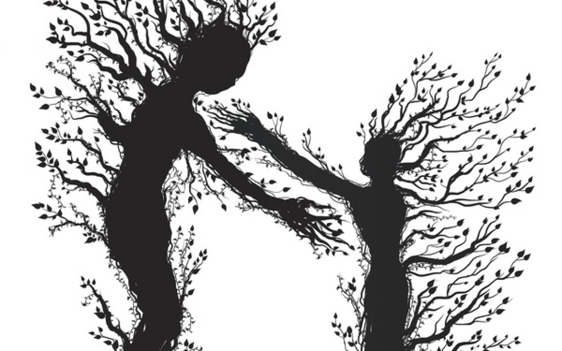 Illustration human figures made of vines reaching for each other spiritual companions