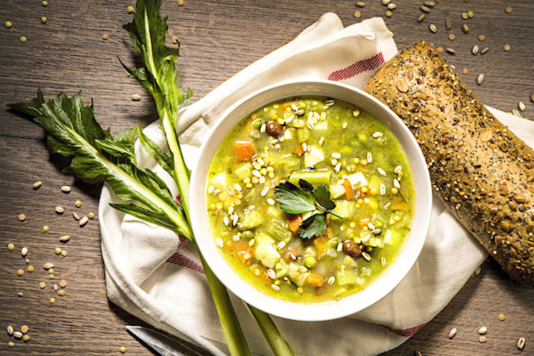 Spring colors of soup in a bowl