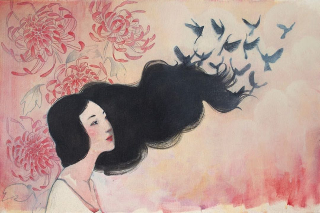 Illustration of woman's dark hair turning into birds